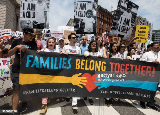 LinManuel Miranda marches during the Families Belong Together march in Washington DC June 30 2018