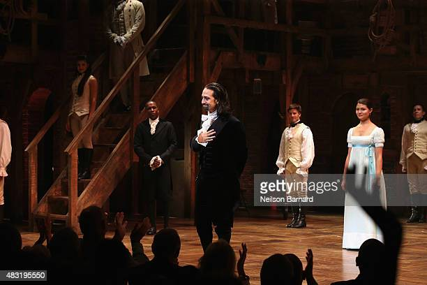 LinManuel Miranda performs at 'Hamilton' Broadway Opening Night at Richard Rodgers Theatre on August 6 2015 in New York City