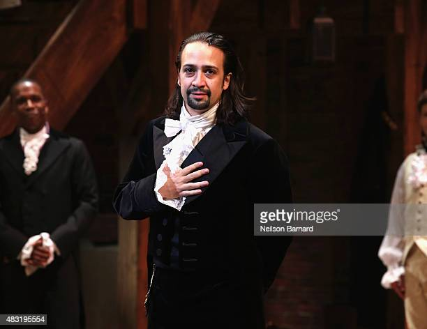 LinManuel Miranda performs at Hamilton Broadway Opening Night at Richard Rodgers Theatre on August 6 2015 in New York City
