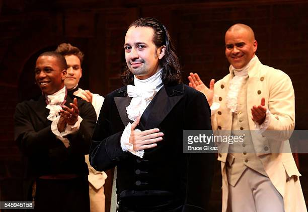 LinManuel Miranda performs his final performance as Alexander Hamilton in Hamilton on Broadway at The Richard Rogers Theatre on July 9 2016 in New...