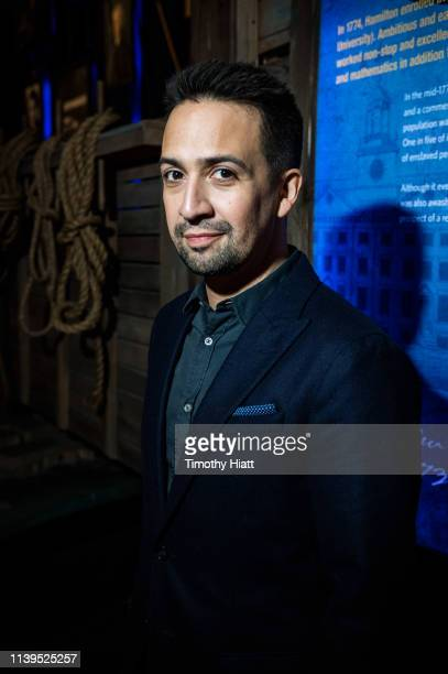 LinManuel Miranda poses for a portrait at the Hamilton The Exhibition world premiere at Northerly Island on April 26 2019 in Chicago Illinois