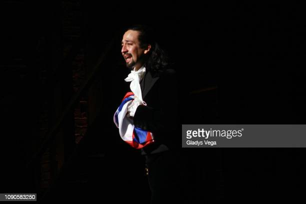 "Lin-Manuel Miranda says goodbye to the audience at the end of the performance at the closing night of ""Hamilton"" at Centro de Bellas Artes on January..."