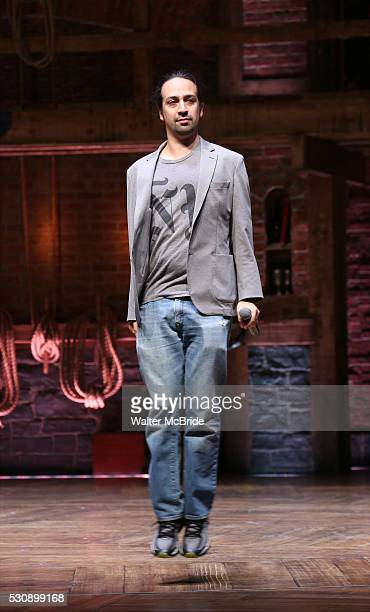 Lin-Manuel Miranda speaks to thirteen hundred students from New York City public schools gathered for a 'Hamilton' matinee performance on Broadway...