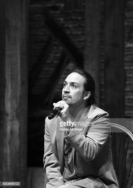 LinManuel Miranda speaks to thirteen hundred students from New York City public schools gathered for a 'Hamilton' matinee performance on Broadway for...