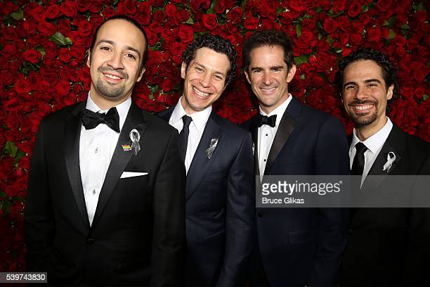 LinManuel Miranda Thomas Kail Andy Blankenbuehler and Alex Lacamoire attend 70th Annual Tony Awards Arrivals at Beacon Theatre on June 12 2016 in New...