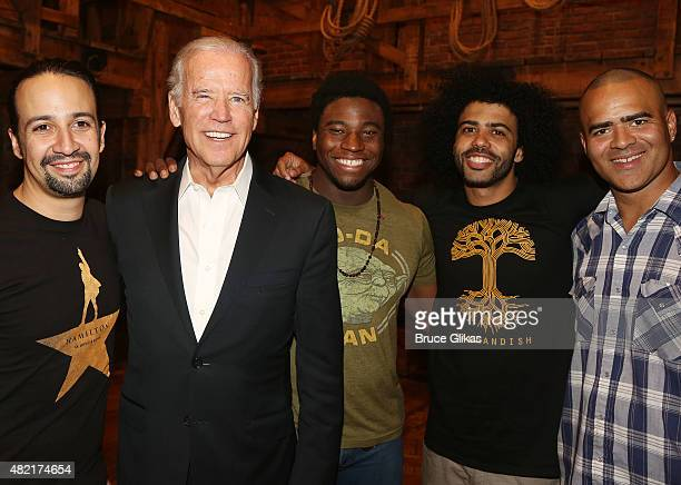 LinManuel Miranda Vice President of the United States Joe Biden Okieriete Onaodowan Daveed Diggs and Christopher Jackson pose backstage at the hit...