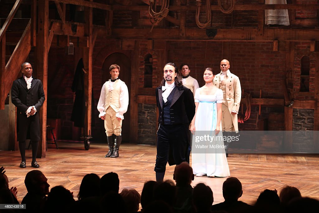 Lin-Manuel Miranda with the cast during the Broadway opening night performance of 'Hamilton' at the Richard Rodgers Theatre on August 6, 2015 in New York City.