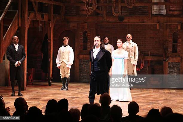 LinManuel Miranda with the cast during the Broadway opening night performance of 'Hamilton' at the Richard Rodgers Theatre on August 6 2015 in New...