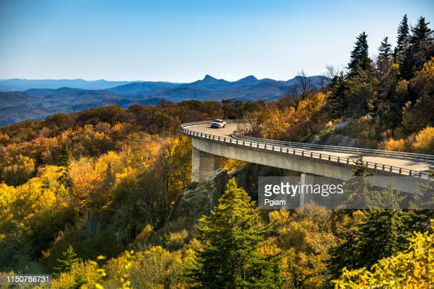 linn cove viaduct blue ridge parkway in autumn - shenandoah_national_park stock pictures, royalty-free photos & images