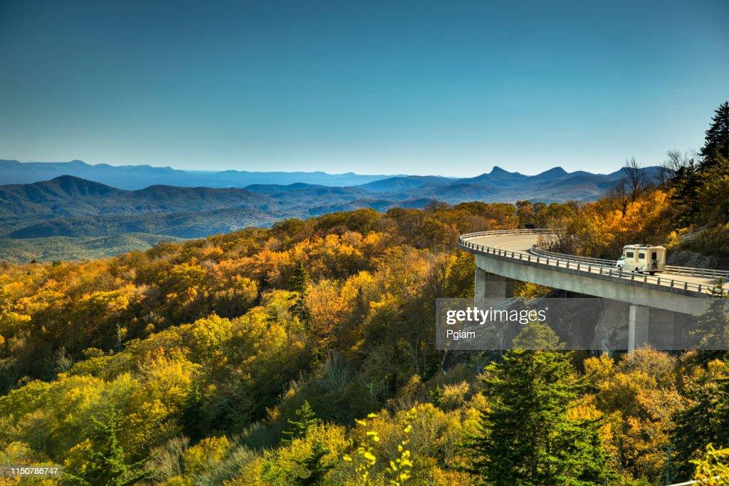 Linn Cove Viaduct Blue Ridge parkway in autumn : Stock Photo