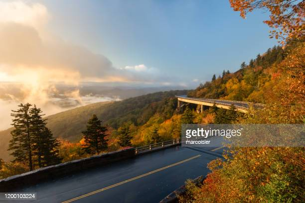 linn cove viaduct on the blue ridge parkway, linville, north carolina, usa - viaduct stock pictures, royalty-free photos & images