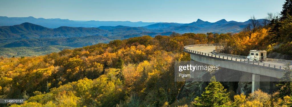 Linn Cove Viaduct panorama on the Blue Ridge parkway in autumn : Stock Photo