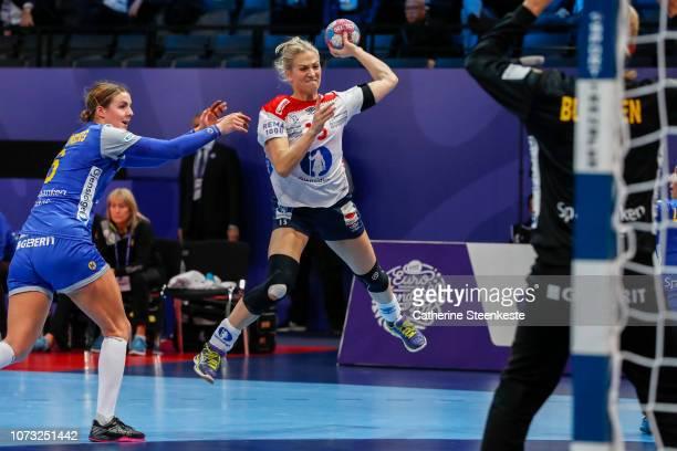 Linn Jorum Sulland of Norway shoots the ball on target against Johanna Bundsen of Sweden during the EHF Euro match for the classification 56 between...