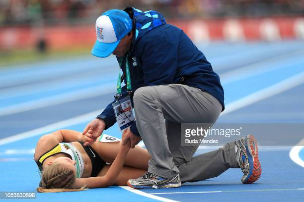 Linn Klaine of Germany lays on the floor after competing in Women's 3000m Stage 1 during day 5 of Buenos Aires 2018 Youth Olympic Games at Youth...