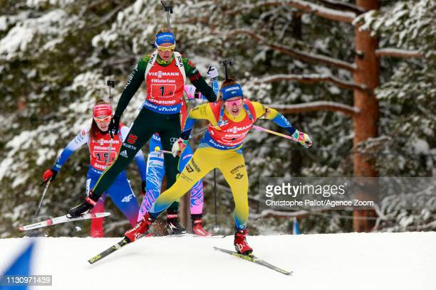 Linn Persson of Sweden in action during the IBU Biathlon World Championships Men's and Women's Relay on March 16, 2019 in Oestersund, Sweden.