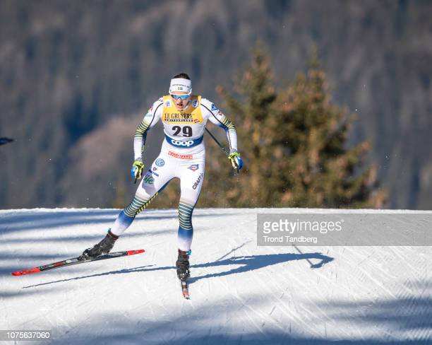 Linn Soemskar of Sweden in action during Tour de Ski Ladies 13 Sprint Free Qualification on December 29 2018 in Toblach Hochpustertal Italy