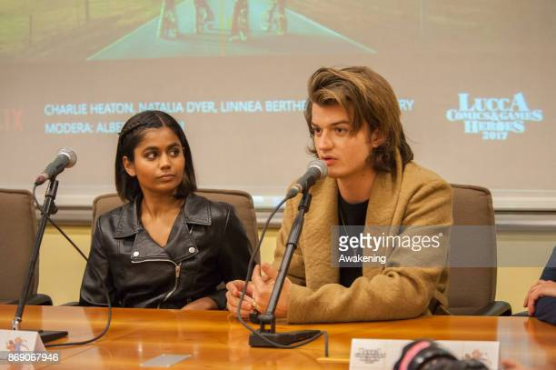 Linnea Berthelsen and Joe Keery the opening of the Lucca Comics and Games Heroes on November 1 2017 in Lucca Italy