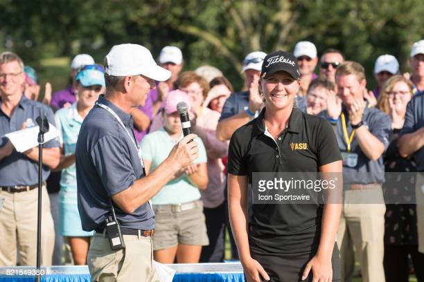 Linnea Strom of Sweden is presented as the low amateur of the tournament following the final round of the LPGA Marathon Classic at Highland Meadows...
