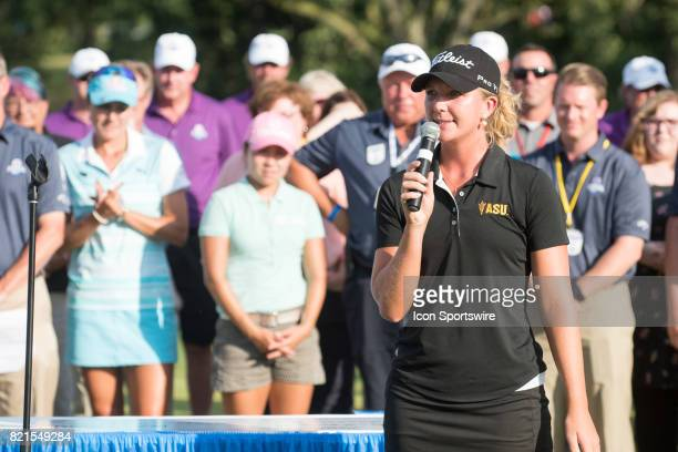 Linnea Strom of Sweden speaks as the low amateur of the tournament following the final round of the LPGA Marathon Classic at Highland Meadows Golf...