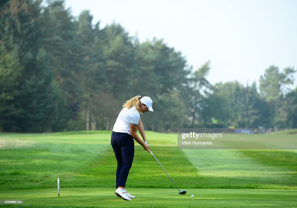 Linnea Strsm of Team Europe plays her tee shot on the 14th tee during the second practice round of the 2014 Junior Ryder Cup - Previews on September 21, 2014 in Perth, Scotland.