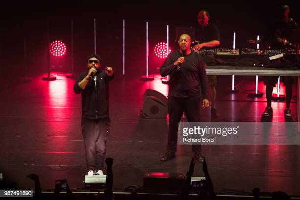 Lino and Oxmo Puccino perform during the 20 Years of Opera Puccino concert at L'Olympia on June 29, 2018 in Paris, France.