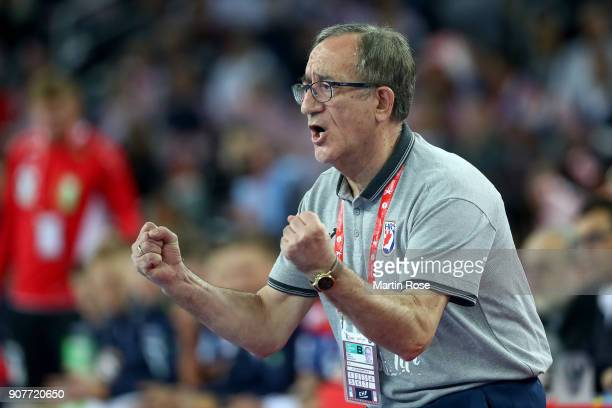 Lino Cervar head coach of Croatia celebates during the Men's Handball European Championship main round match between Croatia and Norway at Arena...