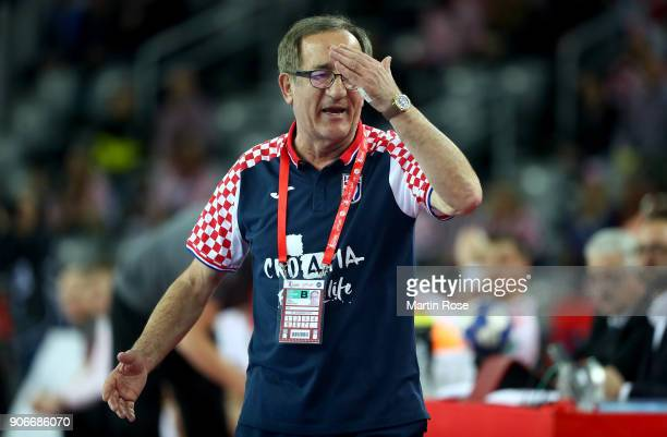 Lino Cervar head coach of Croatia reacts during the Men's Handball European Championship main round match between Croatia and Belarus at Arena Zagreb...