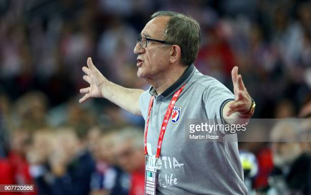 Lino Cervar head coach of Croatia reacts during the Men's Handball European Championship main round match between Croatia and Norway at Arena Zagreb...