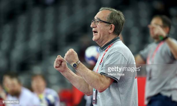 Lino Cervar head coach of Croatia reacts during the Men's Handball European Championship placement match between Croatia and Czech Republic at Arena...