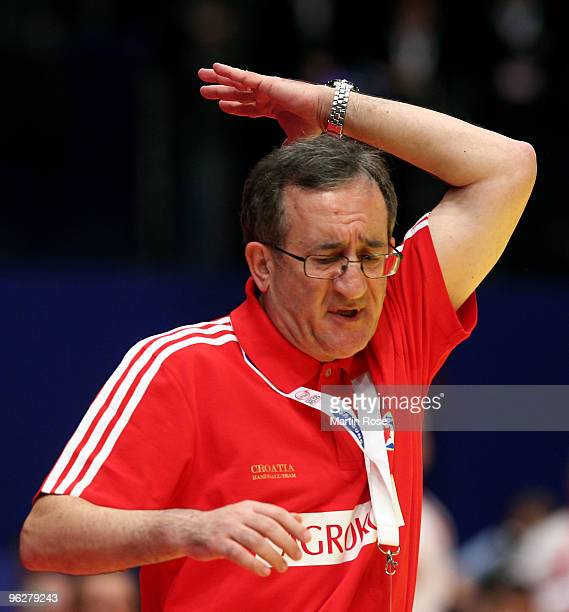 Lino Cervar head coach of Croatia reacts during the Men's Handball European semi final match between Croatia and Poland at the Stadthalle on January...