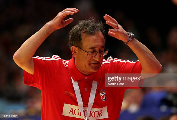 Lino Cervar head coach of Croatia reacts during the Men's Handball European final match between France and Croatia at the Stadthalle on January 31...