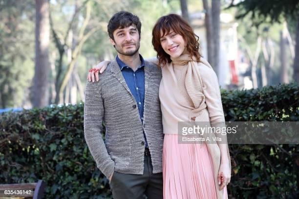 Lino Guanciale and Gabriella Pession attend a photocall for 'La Porta Rossa' fiction Rai at Villa Borghese on February 15 2017 in Rome Italy