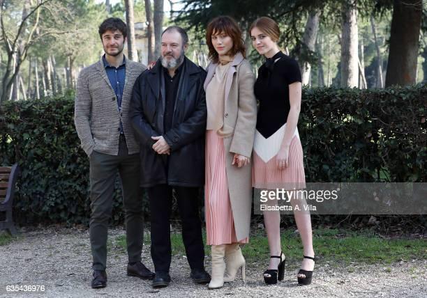 Lino Guanciale screenwriter Carlo Lucarelli Gabriella Pession and Valentina Romani attend a photocall for 'La Porta Rossa' fiction Rai at Villa...