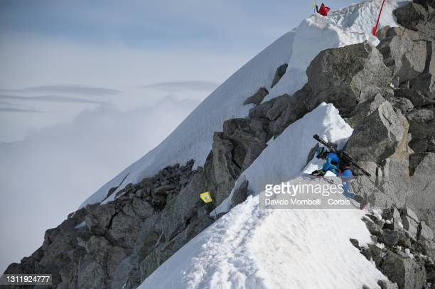 Lino Jaques Chanoine with some difficulties due to a very difficult and dangerous passage during Adamello Ski Raid on April 10, 2021 in Ponte di...
