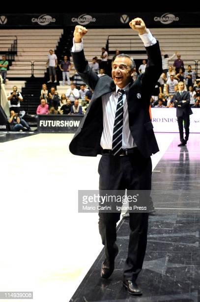 Lino Lardo head coach of Canadian Solar celebrates during the Lega Basket Serie A playoff match between Canadian Solar Bologna v Montepaschi Siena at...