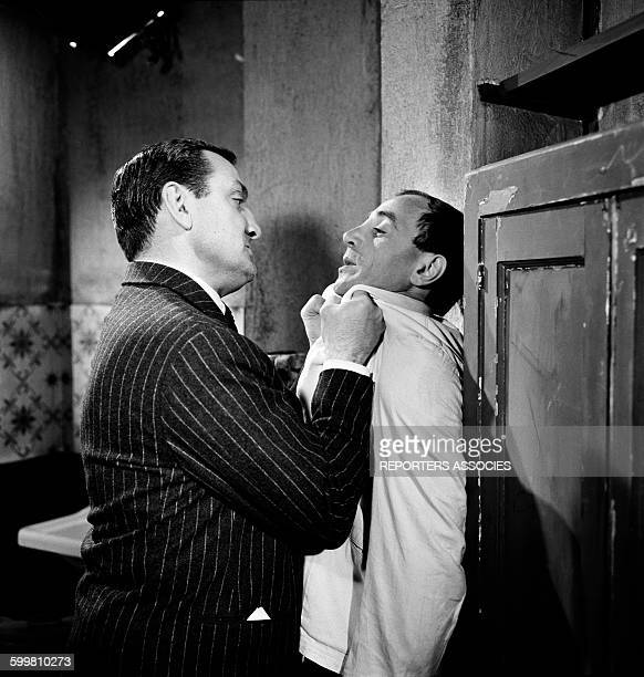 Lino Ventura and Charles Aznavour on the set of the Movie 'La Métamorphose des Cloportes' directed by Pierre GranierDeffere in France in 1965