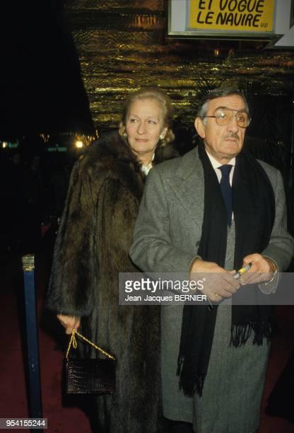 Lino Ventura et sa femme Odette à la 1ère du film 'Canicule' à Paris le 10 janvier 1984 France