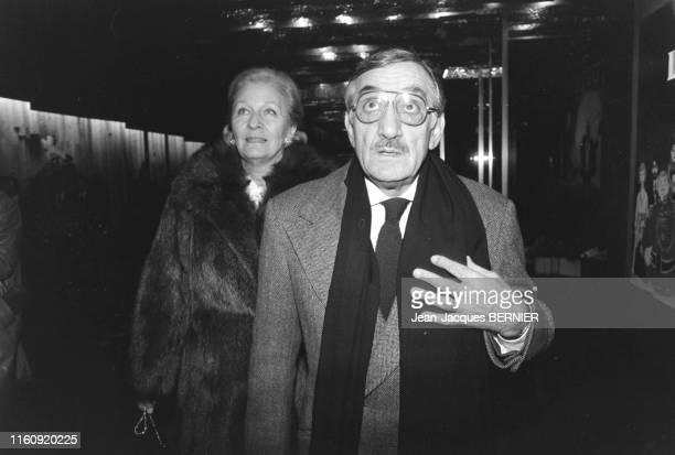 Lino Ventura et sa femme Odette lors de la 1ère du film 'Canicule' à Paris le 11 janvier 1984 France