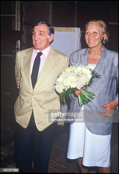 Lino Ventura records Lino Ventura with his wife Odette at Anjou French Theater Festival 1987