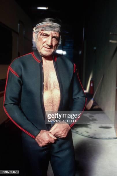 Lino Ventura sur le tournage du film 'Les Misérables' réalisé par Robert Hossein en 1982 France