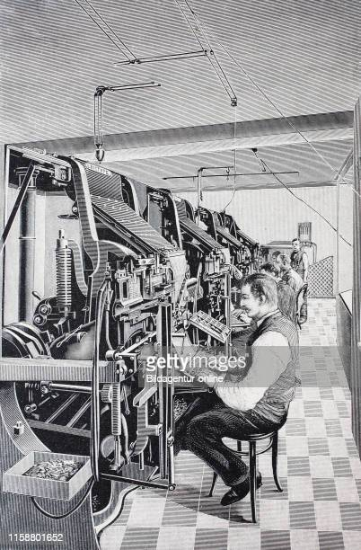 Linotype Simplex machine a line casting machine used in printing sold by the Mergenthaler Linotype Company digital improved reproduction of an...