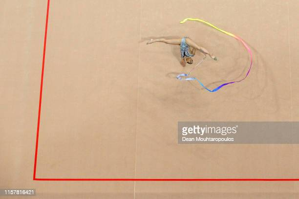 Linoy Ashram of of of Israel competes in the Rhythmic Gymnastics Women's Ribbon Finals during the 2nd European Games held in the Minsk Arena on June...