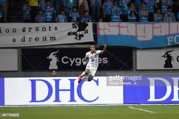 Lins of Ventforet Kofu celebrates scoring the opening goal during the JLeague J1 match between Sagan Tosu and Ventforet Kofu at Best Amenity Stadium...