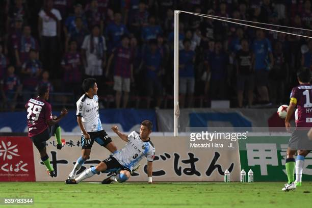 Lins of Ventforet Kofu scores his side's first goal during the JLeague J1 match between Ventforet Kofu and Kawasaki Frontale at Yamanashi Chuo Bank...