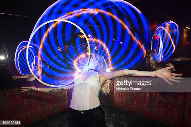 Linsay Curtis hula hoops at Girls Boys at Webster Hall on February 26 2016