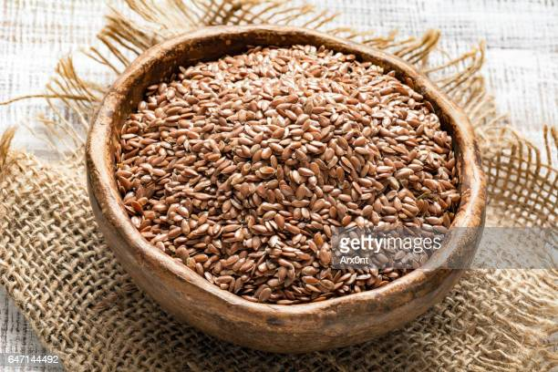 Linseeds or flax seeds in a bowl