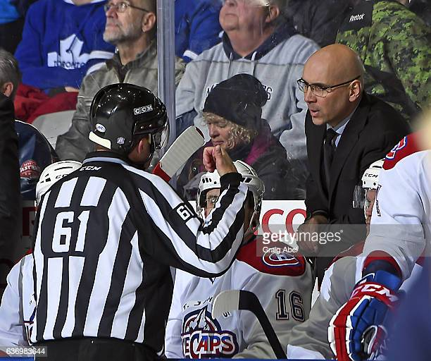 Linseman Kevin Hastings explains a call to head coach Sylvain Lefebvre of the St John's IceCaps during AHL game action on December 26 2016 at Ricoh...