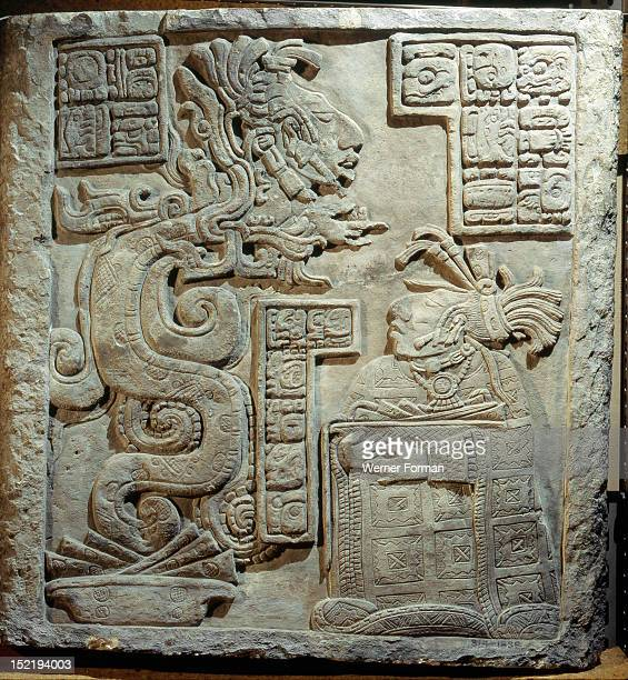Lintel 15 of Yaxchilan Structure 21 from a series illustrating the accession rituals of the ruler Lord Bird Jaguar Here one of his wives after making...