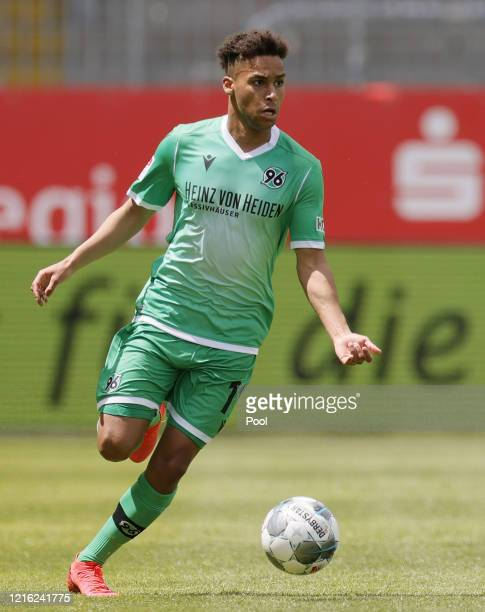 Linton Maina of Hannover in action during the Second Bundesliga match between SV Sandhausen and Hannover 96 at BWTStadion am Hardtwald on May 30 2020...