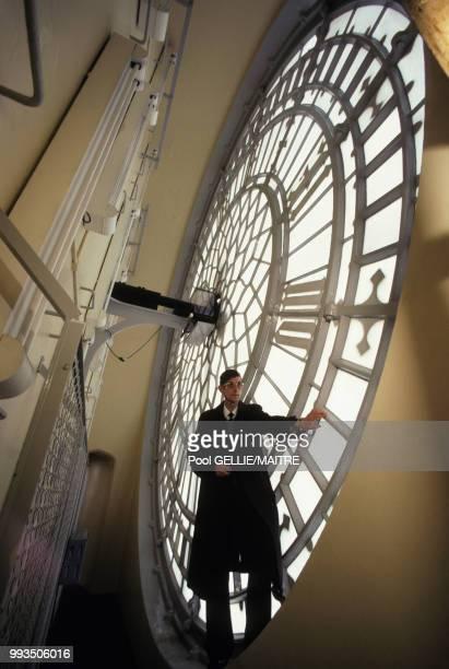 A l'intérieur de Big Ben dans la Tour de l'Horloge du palais de Westminster à Londres en décembre 1986 RoyaumeUni